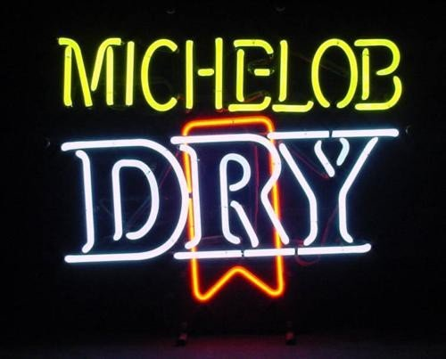 Michelob Dry Beer 3 D Logo 3 Color Neon Bar Decor Sign