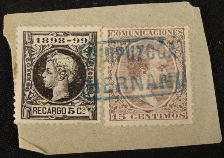 2 Alfonse XIII Child Stamps 1898-99 5,15 Centimos Spain
