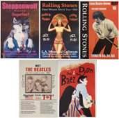 5 Rock Concert Posters Steppenwolf Beatles Dylan Stones