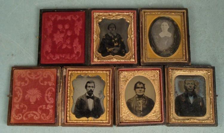 5 Antique Daguerreotype Photos In Cases -Men, Women