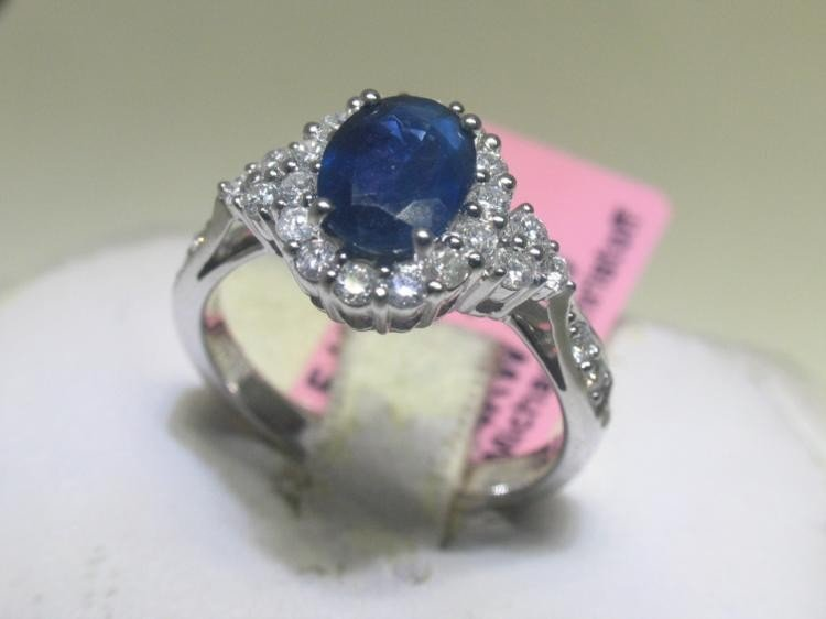 6 1/4 Diamond Ring and Blue Sapphire 14K White Gold