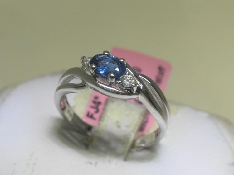 BLUE SAPPHIRE and .08 ct Diamonds 14K White Gold Ring