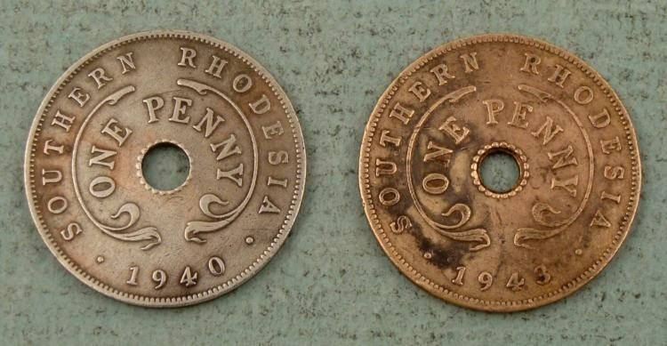 Two Southern Rhodesia One Penny Coins 1940 and 1943