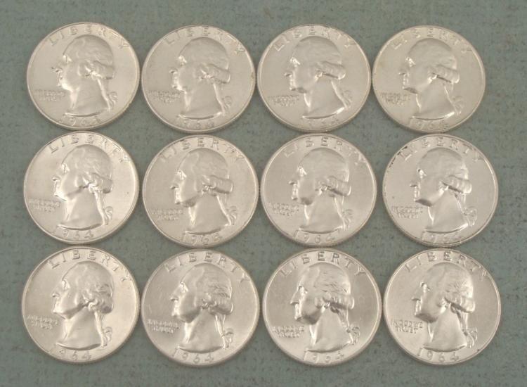 12 Gem UNC 1964-D Silver Quarters
