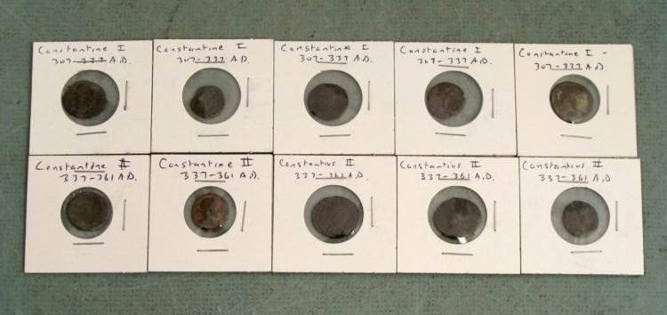 10 Ancient Roman Coins: Constantine I,II Constantius II