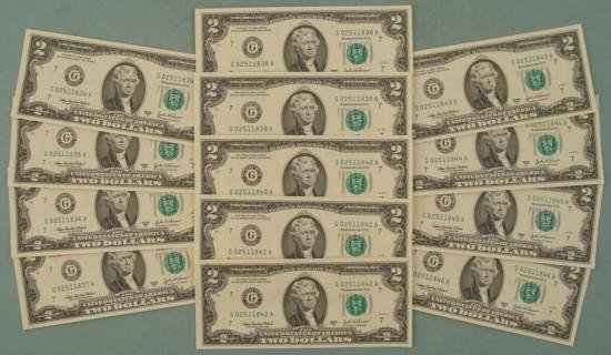 13 Consecutive # CU $2 Bill Notes 2003-A G Mint Chicago