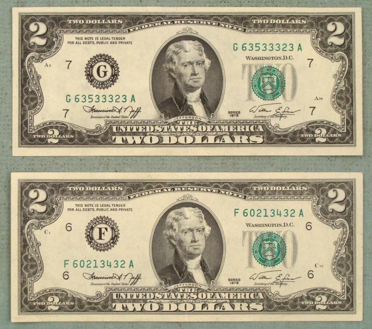 2 CU 1975 $2 Bills Notes F & G Mint Atlanta, Chicago