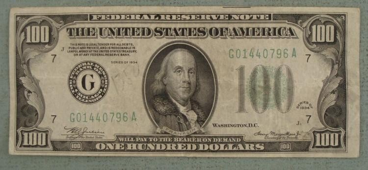 $100 1934 J2 US Note Large Green G & Large 100 Nice