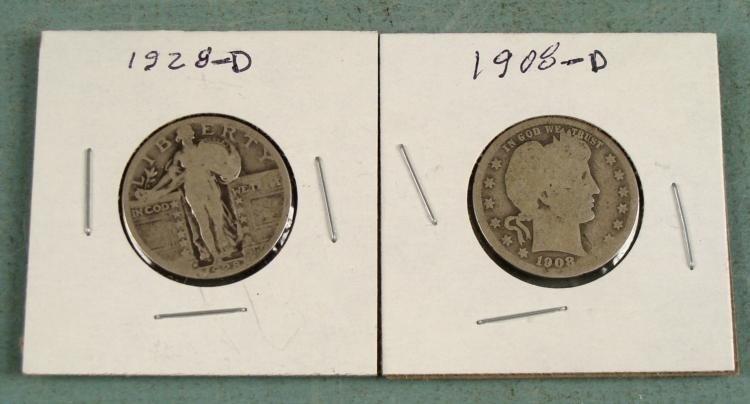 2 Silver Old Quarters 1928-D Standing, 1908-D Barber