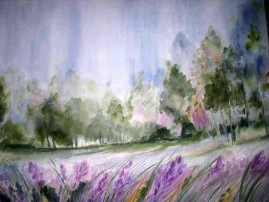 Field Of Dreams By Dicken Watercolor 28 1/2 X 38 1/2