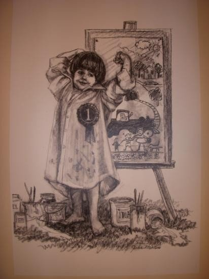 The Winner by Judi Martin B&W Lithograph Numbered