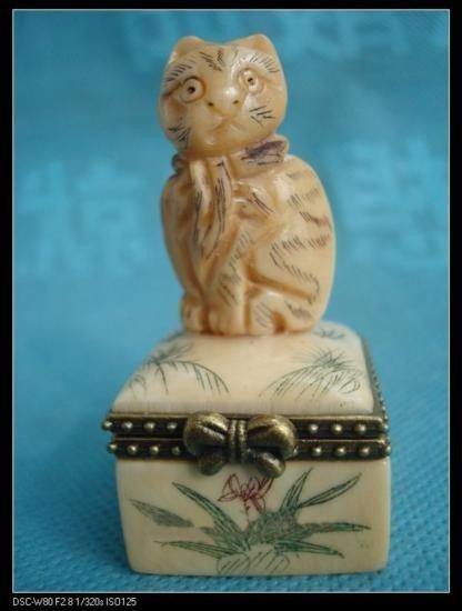 Amazing Tibet hand-carved ox bone jewelry box of a cat