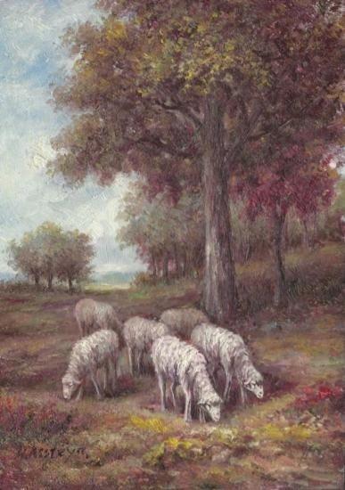 MWF1383Z 5x7 Oil on Board Depiciting Sheep Pasture Scen