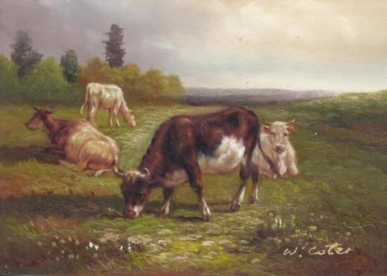 MWF1383F 5x7 Oil on Board Depiciting Cow & Pasture Scen