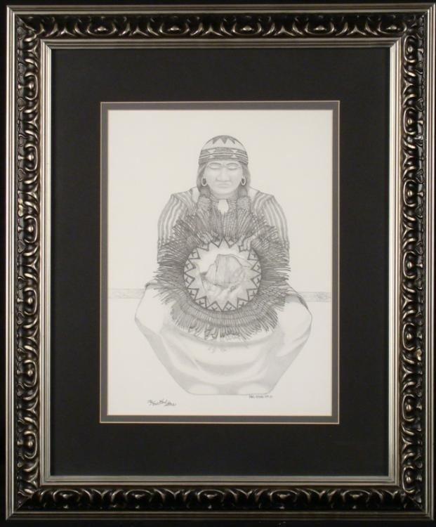 Paul Stone Signed Native American Art Print Woman Frmd