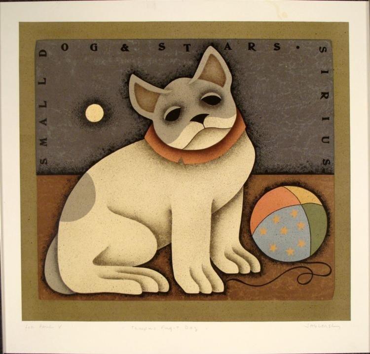 Signed Art Tempus Fugit Dog Print Carol Jablonsky