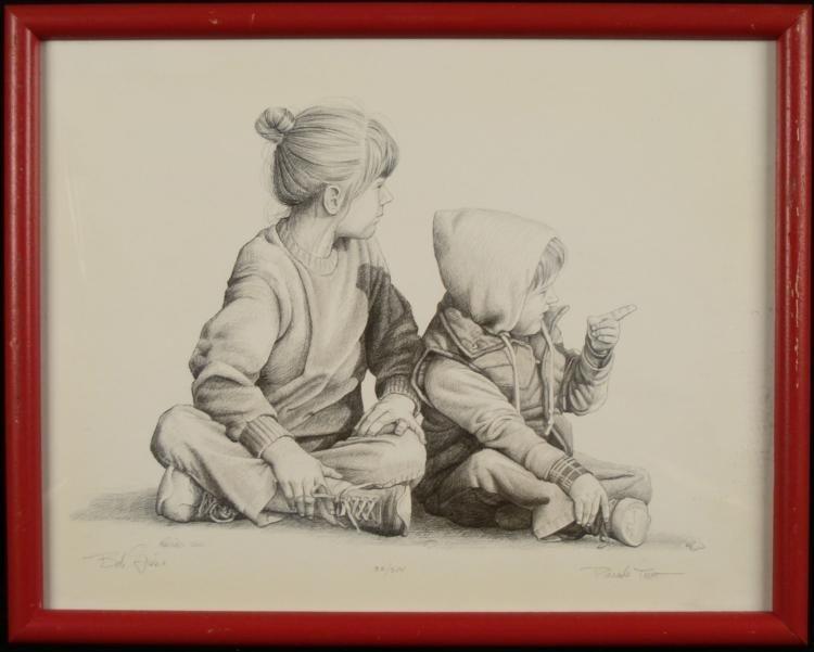 Bob Giese Signed Art Print Parade Two Children Frmd