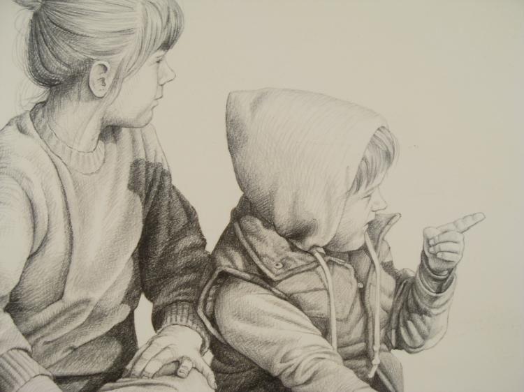 Bob Giese Signed Art Print Parade Two Children Frmd - 2