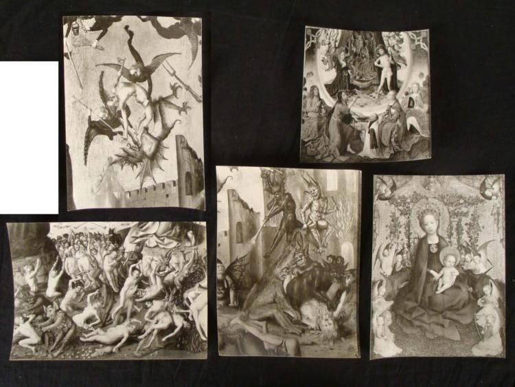 5 PHOTOS NAZI CAPTURED ART-DEMONIC & RELIGIOUS STAMPED