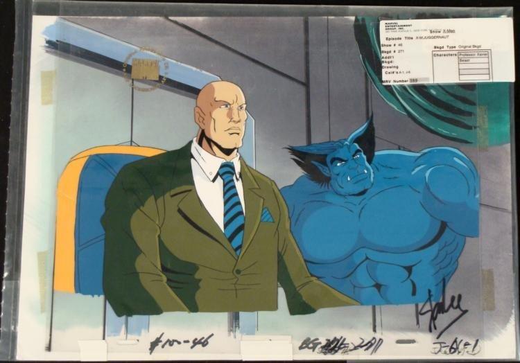 Stan Lee Production Orig Background Cel Signed X-Men