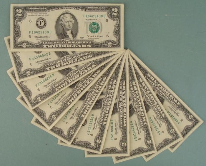 (10) 1976 $2 Bills Notes F Mint Mark Atlanta -Some UNC