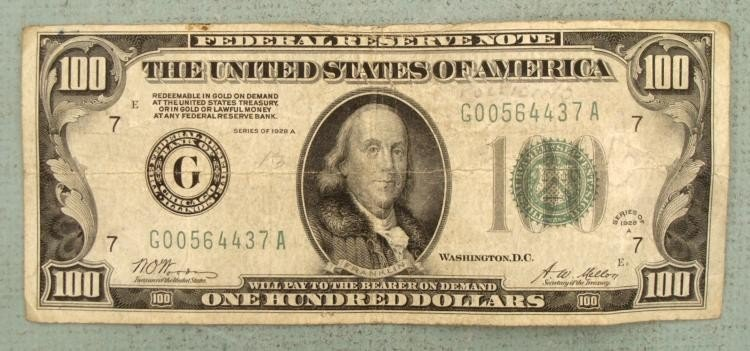 1928A $100 Note Redeemable in Gold-G Mint Chicago