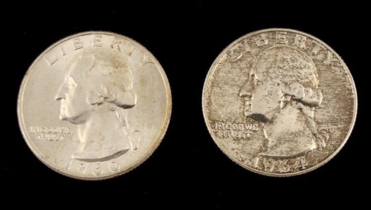 2 Dif Date UNC Washington Quarters 1960-D, 1964-D Toned