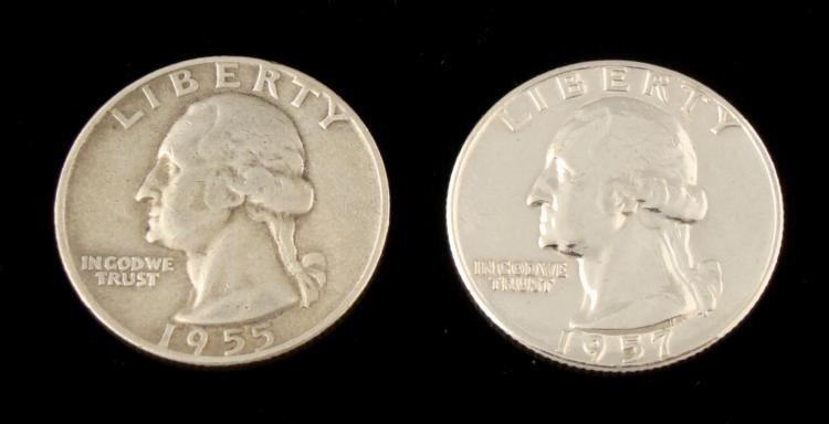 1955-D and 1957 Washington Quarters Coins