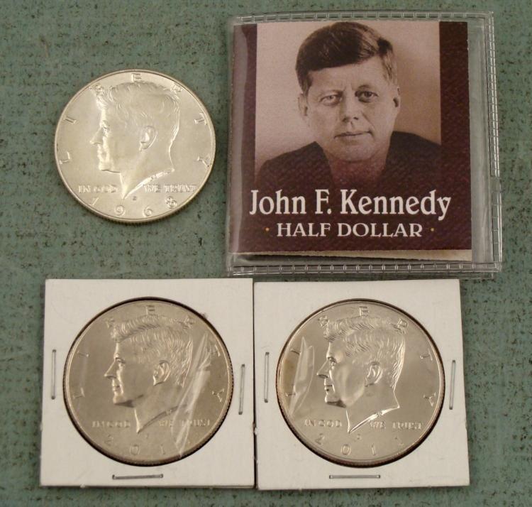 Three GEM UNC Kennedy Halves 1968-D 2011-P and D Coin