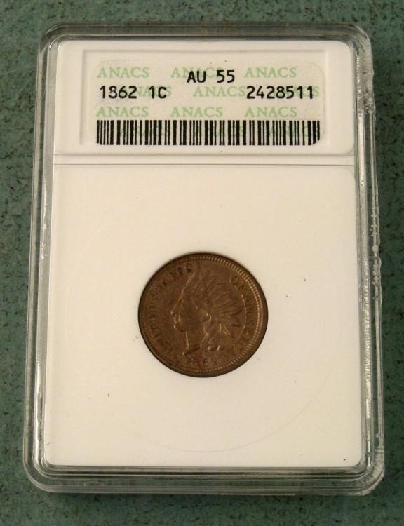 1862 Graded AU55 Indian Head Penny Coin