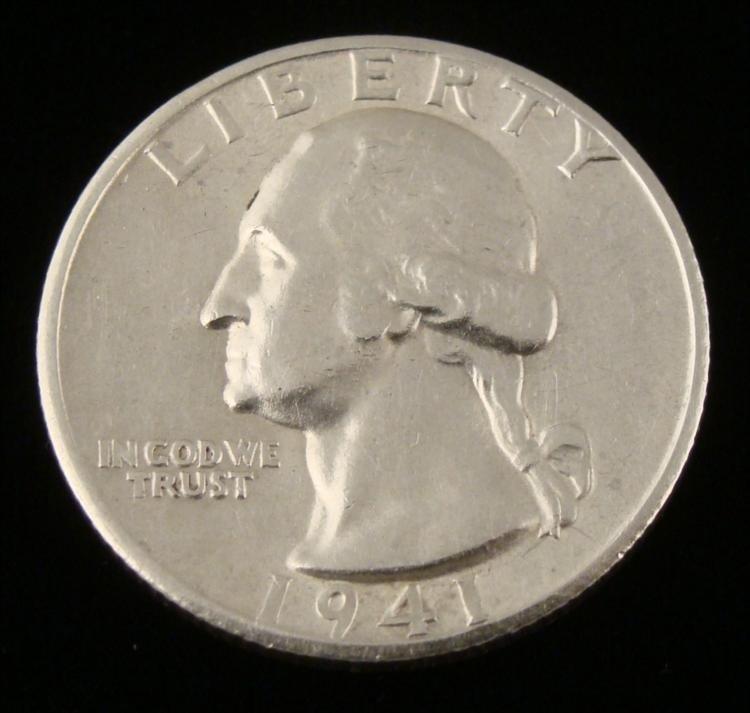 1941-S GEM Washington Silver Quarter Coin