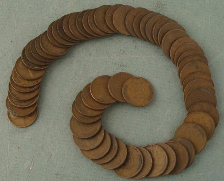 1 Roll of 1917-P Pennies Wheat Cents