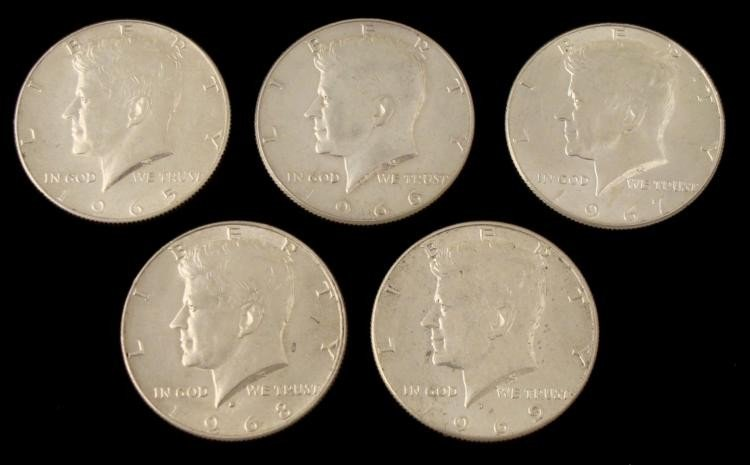 5 Diff Date Kennedy 40% Silver UNC Halves 1965-69-D