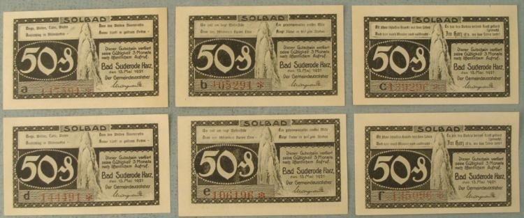 1 Set of 6 Diff CU Notes German Solbad 50 Pfennig 1921