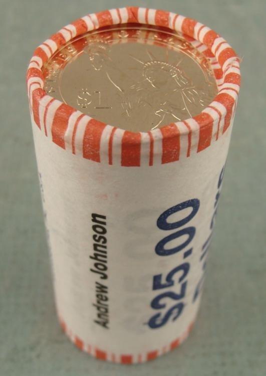 1 UNC Bank Roll 2011 Andrew Johnson Presidential Dollar