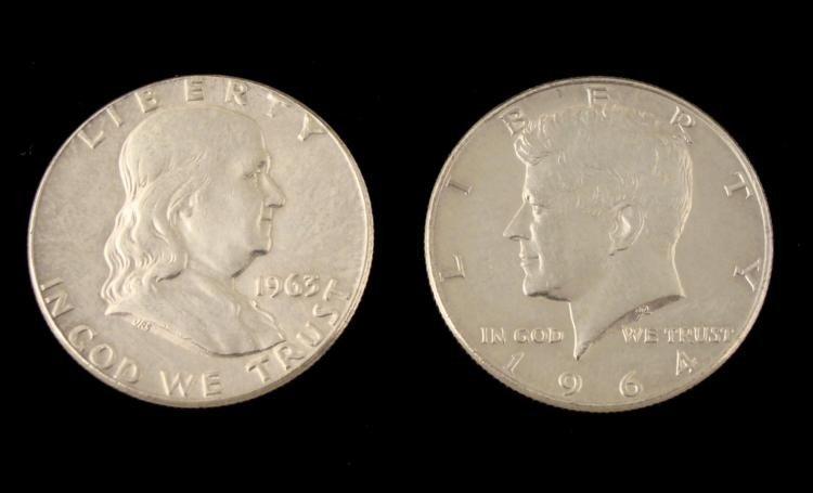1963 & 1964 Franklin & Kennedy Silver Half Dollars