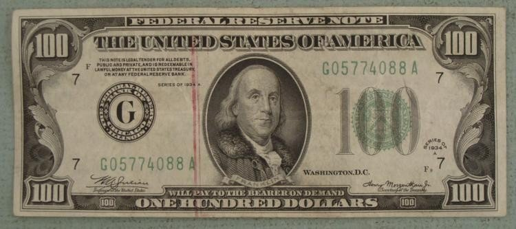 1934 A F9 $100 US w/ Red Bank Stamp Nice Condition
