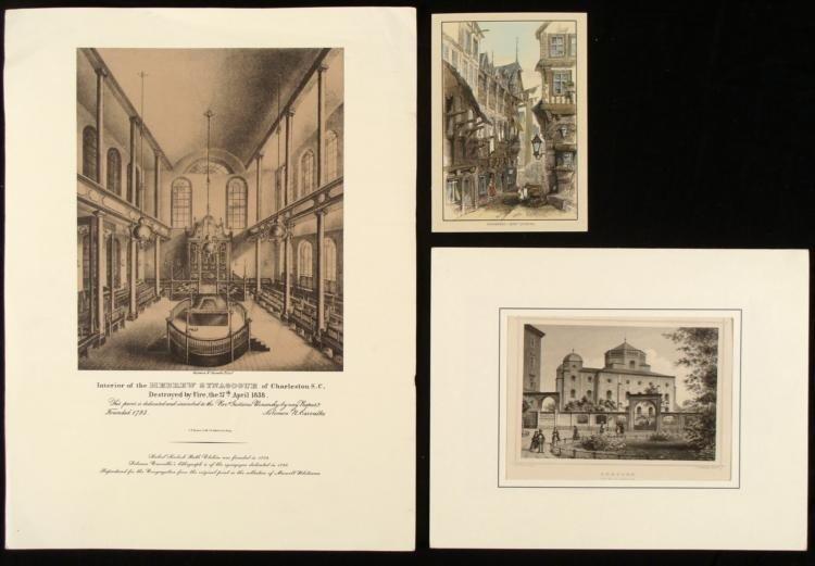 3 Old Jewish Art Prints Germany Jews Quarter, Synagogue