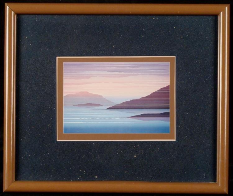 Scenic Lithograph Print Modern Ocean Scene Framed