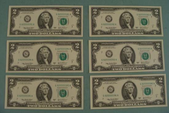 6 Consec Number 2003 A $2 Bills G Mint Notes Chicago CU