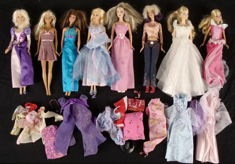 Collection of 8 Barbie Dolls + Extra Clothes, Outfits