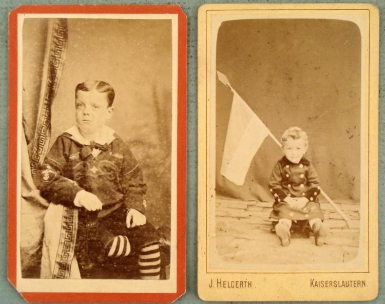 2 Antique Photographs Children in Uniforms, Military
