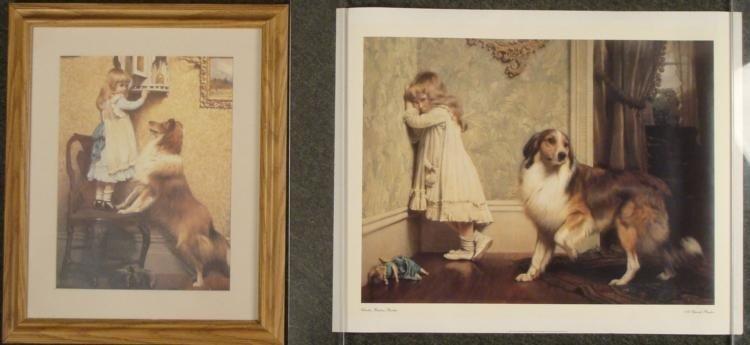 2 Charles Burton Barber Art Prints, 1 Framed