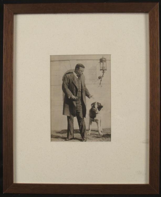 Antique Photo Print of Teddy Roosevelt & His Dog Framed