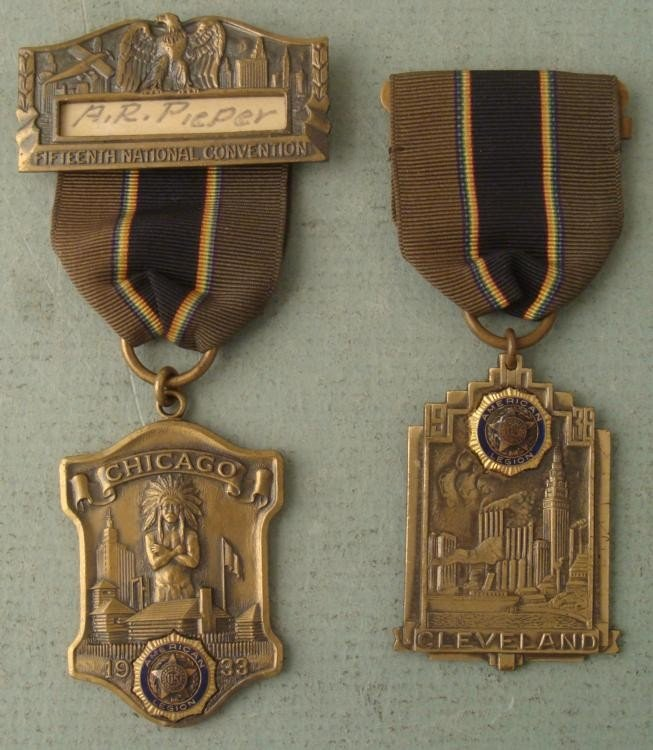 2 LT COMM AMERICAN LEGION MEDALS CHICAGO AND CLEVELAND