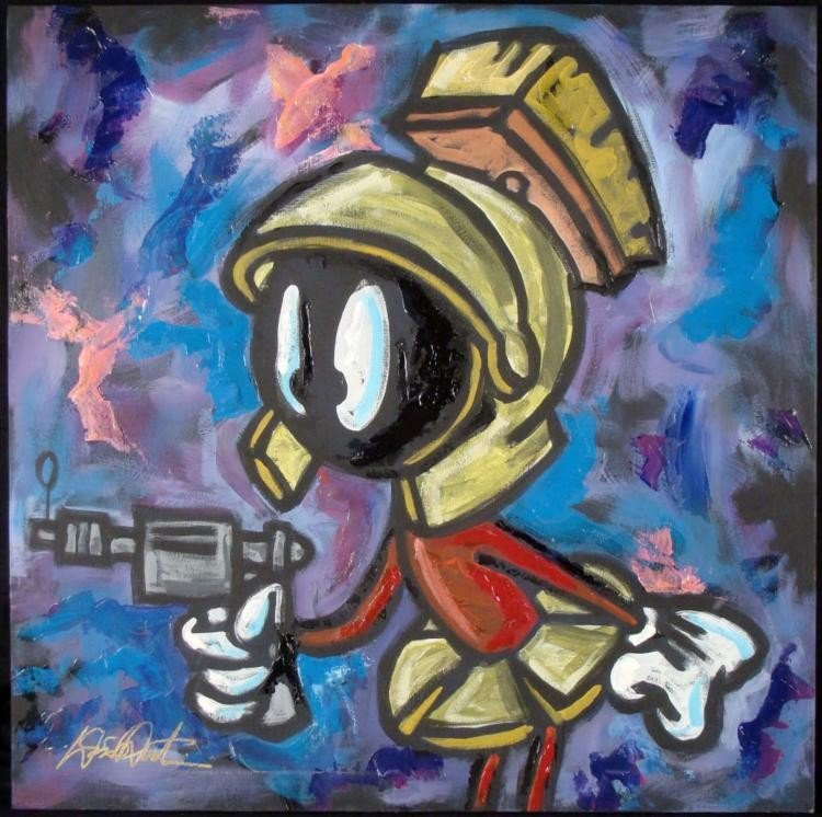 Dick Duerrstein Orig Marvin the Martian w/Gun Painting