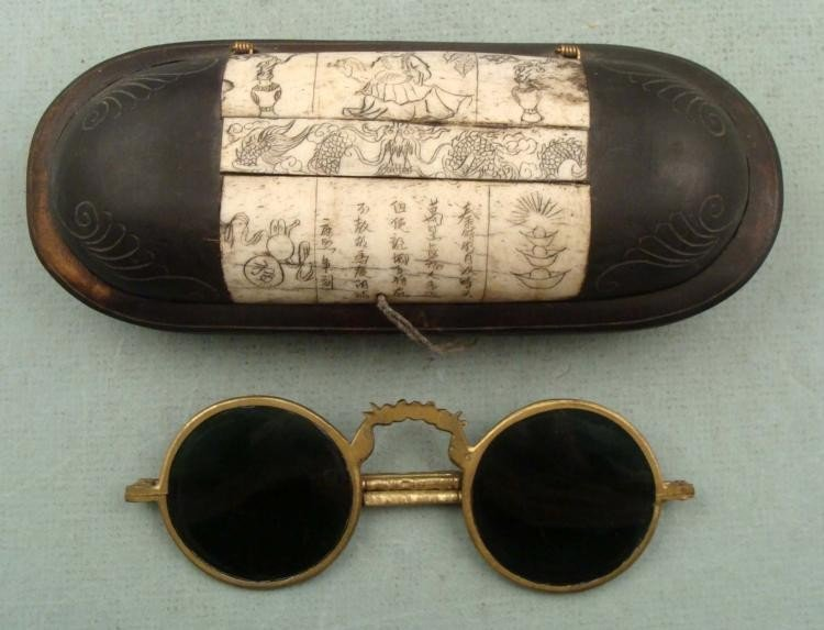 Antique Chinese Glasses Case w/ Folding Sunglasses