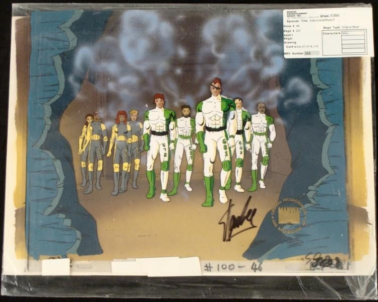 Signed Animation Original Art X-Men Cel Stan Lee
