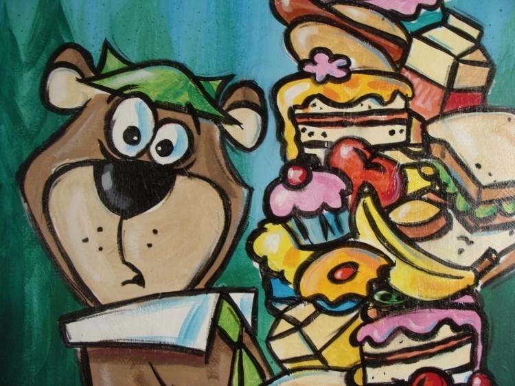 Duerrstein Yogi Bear Original Cartoon Art Painting - 2
