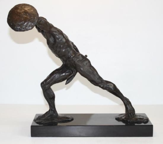 Noble Nude Gladiator with Sword and Shield Bronze Scul